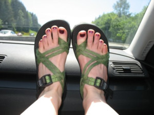 These are not my feet. This is what my sandals look like.